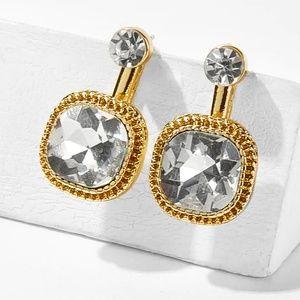 Square Gold Linked Rhinestone Stud Earrings